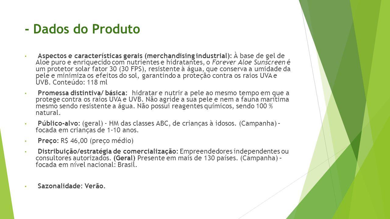 - Dados do Produto • Aspectos e características gerais (merchandising industrial): À base de gel de Aloe puro e enriquecido com nutrientes e hidratant