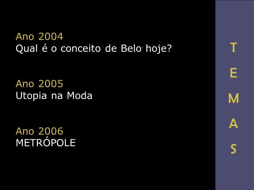 Ano 2004 Qual é o conceito de Belo hoje? Ano 2005 Utopia na Moda Ano 2006 METRÓPOLE TEMASTEMAS