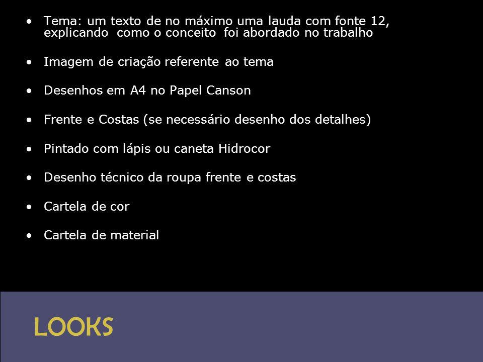 LOOKS •Tema: um texto de no máximo uma lauda com fonte 12, explicando como o conceito foi abordado no trabalho •Imagem de criação referente ao tema •D