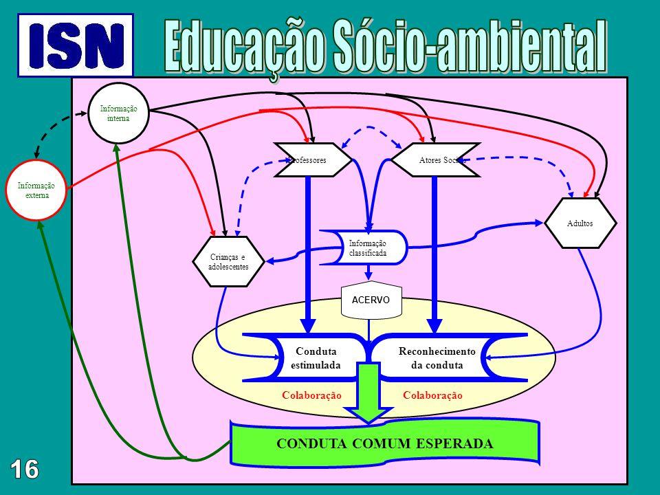 Informação externa ProfessoresAtores Sociais Informação classificada Informação interna Crianças e adolescentes Adultos Conduta estimulada Reconhecime