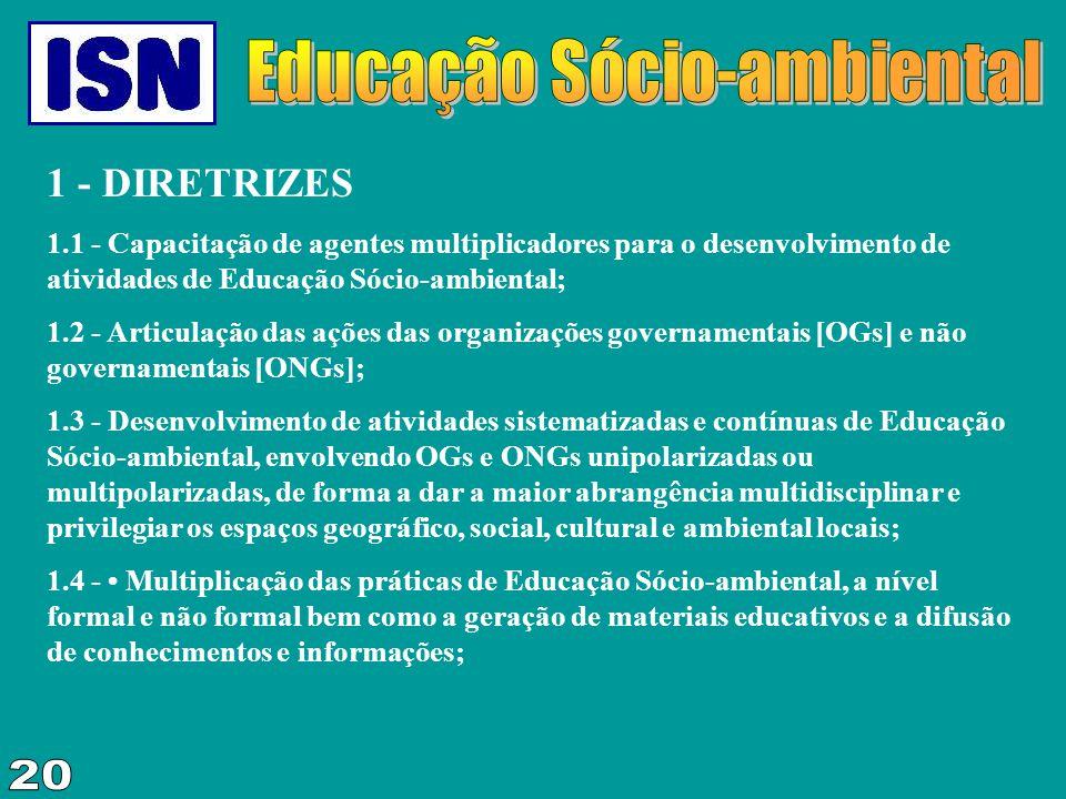 1 - DIRETRIZES 1.1 - Capacitação de agentes multiplicadores para o desenvolvimento de atividades de Educação Sócio-ambiental; 1.2 - Articulação das aç