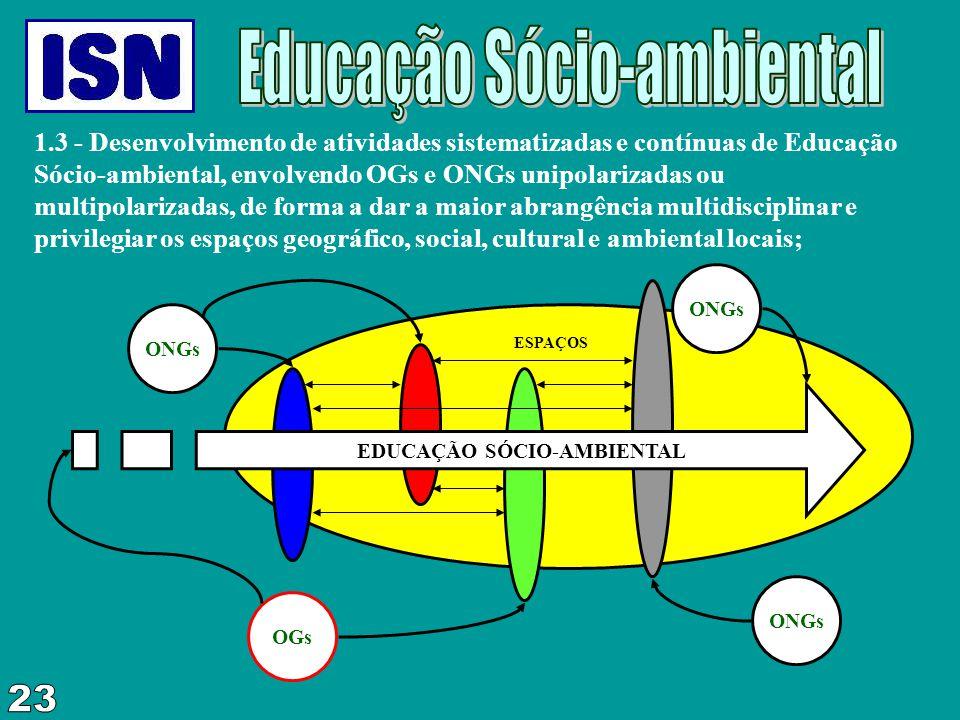 1.3 - Desenvolvimento de atividades sistematizadas e contínuas de Educação Sócio-ambiental, envolvendo OGs e ONGs unipolarizadas ou multipolarizadas,