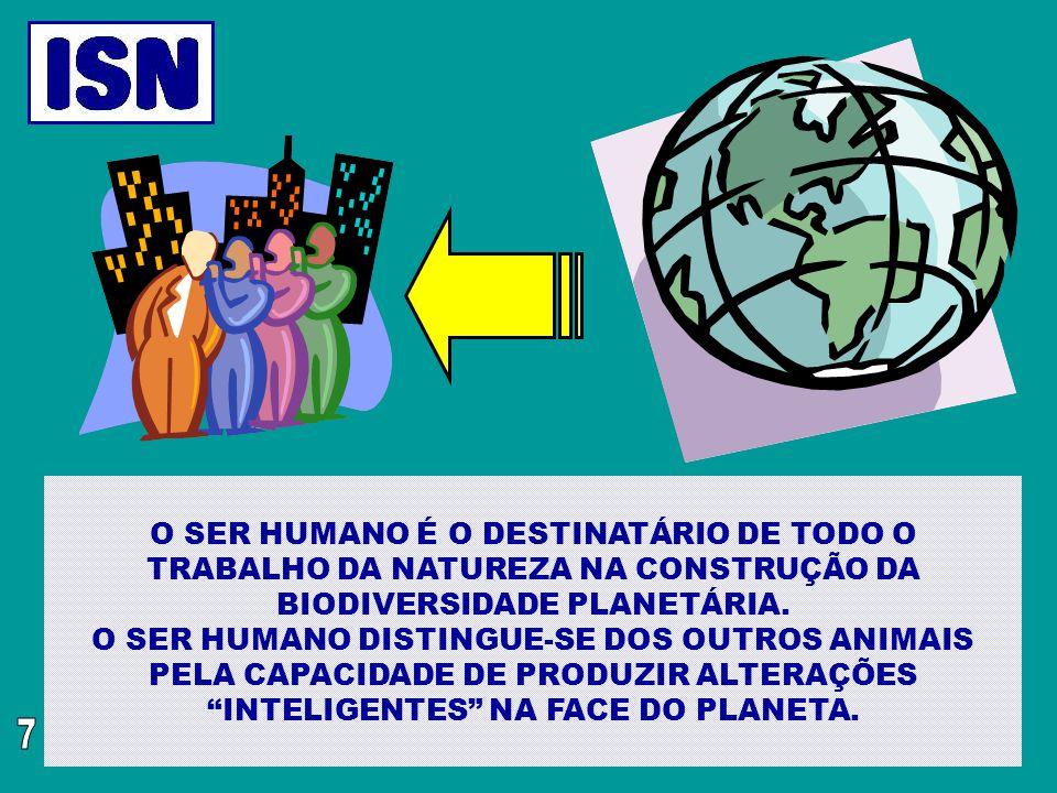 O SER HUMANO É O DESTINATÁRIO DE TODO O TRABALHO DA NATUREZA NA CONSTRUÇÃO DA BIODIVERSIDADE PLANETÁRIA. O SER HUMANO DISTINGUE-SE DOS OUTROS ANIMAIS