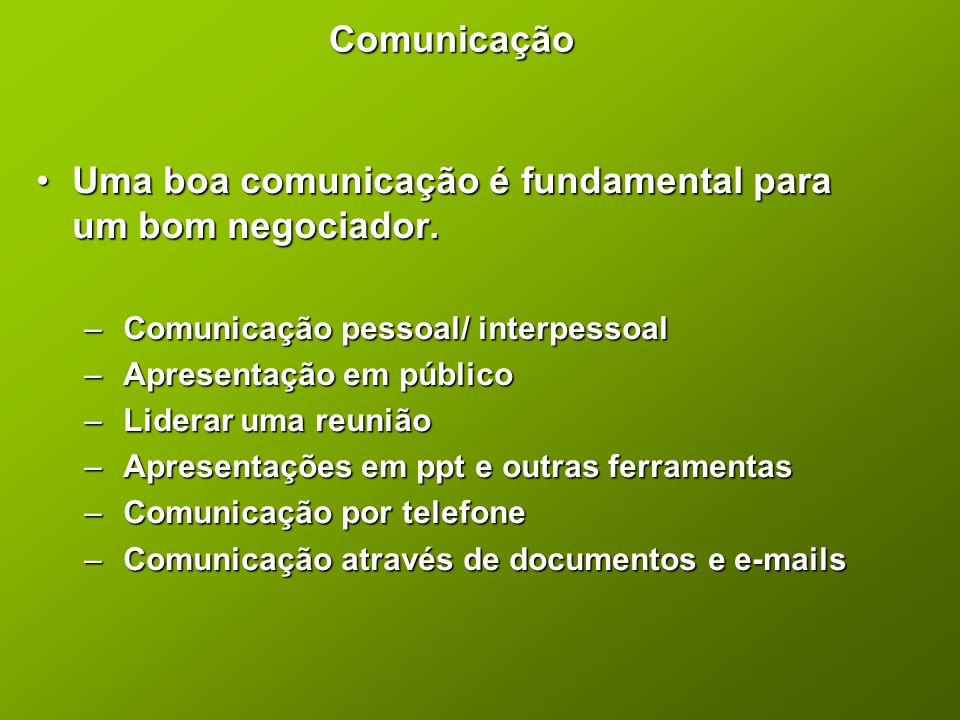 Comunicação •Uma boa comunicação é fundamental para um bom negociador. – Comunicação pessoal/ interpessoal – Apresentação em público – Liderar uma reu