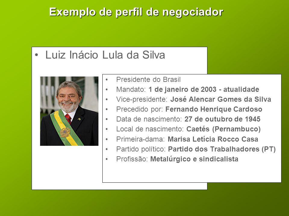 Exemplo de perfil de negociador •Luiz Inácio Lula da Silva •Presidente do Brasil •Mandato: 1 de janeiro de 2003 - atualidade •Vice-presidente: José Al