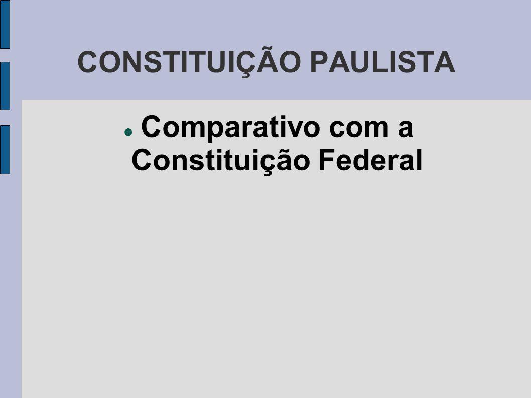 CONSTITUIÇÃO PAULISTA  Comparativo com a Constituição Federal