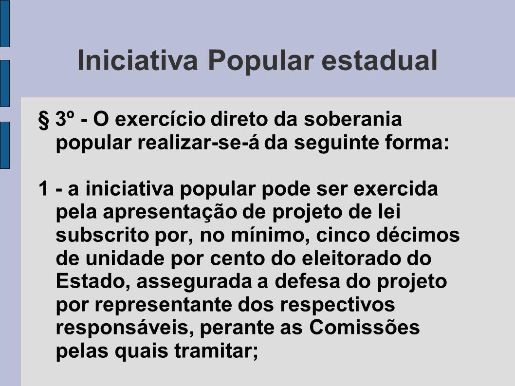 Iniciativa Popular estadual § 3º - O exercício direto da soberania popular realizar-se-á da seguinte forma: 1 - a iniciativa popular pode ser exercida
