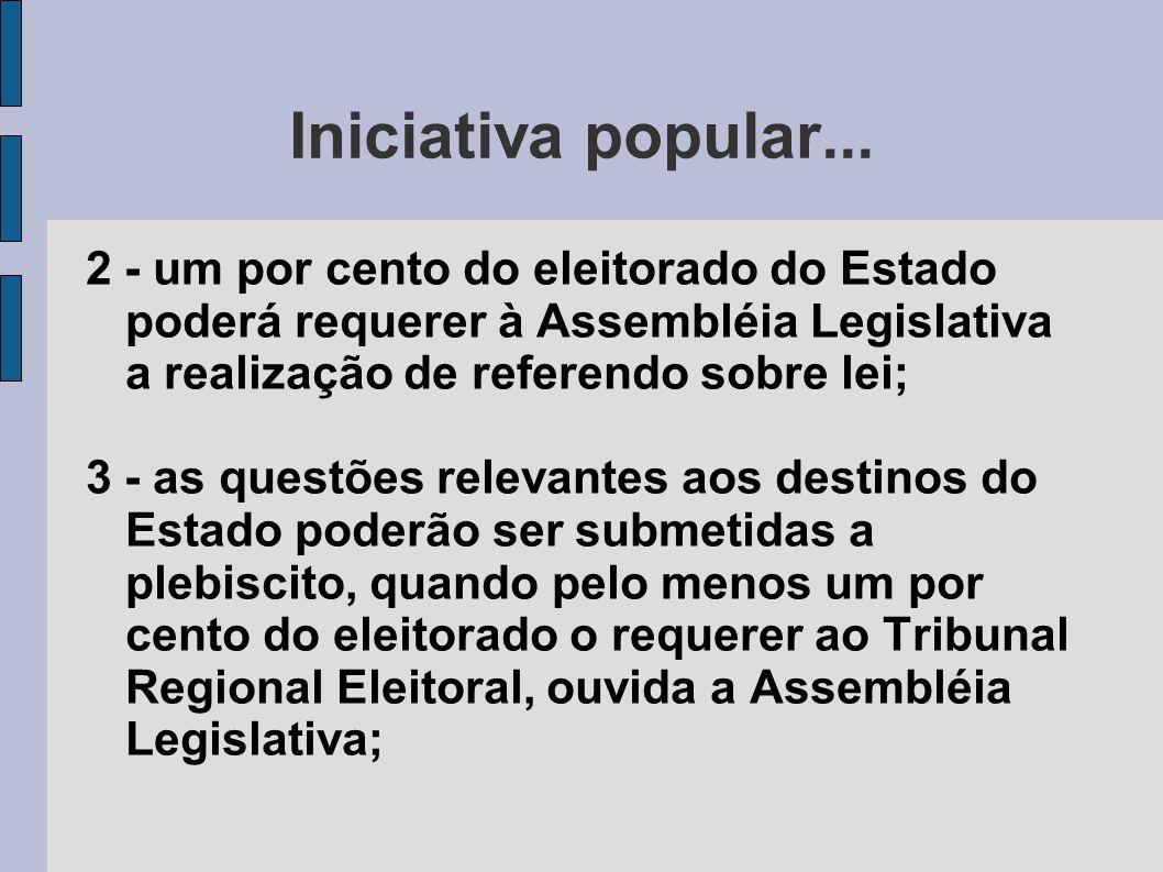 Iniciativa popular... 2 - um por cento do eleitorado do Estado poderá requerer à Assembléia Legislativa a realização de referendo sobre lei; 3 - as qu