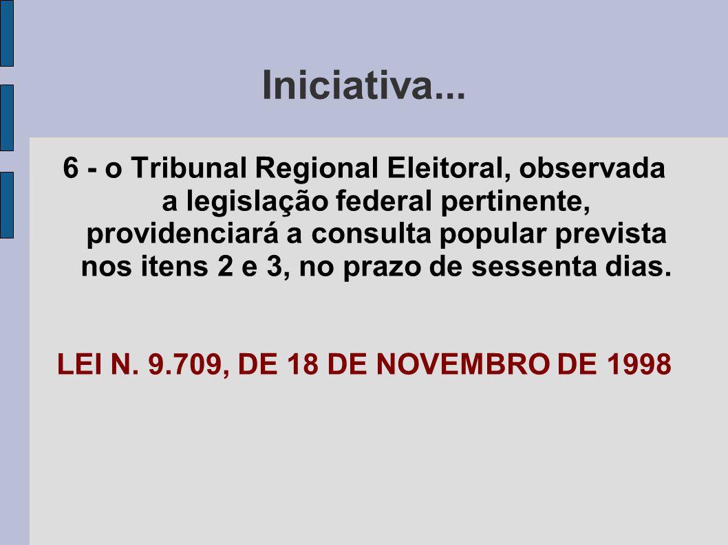 Iniciativa... 6 - o Tribunal Regional Eleitoral, observada a legislação federal pertinente, providenciará a consulta popular prevista nos itens 2 e 3,