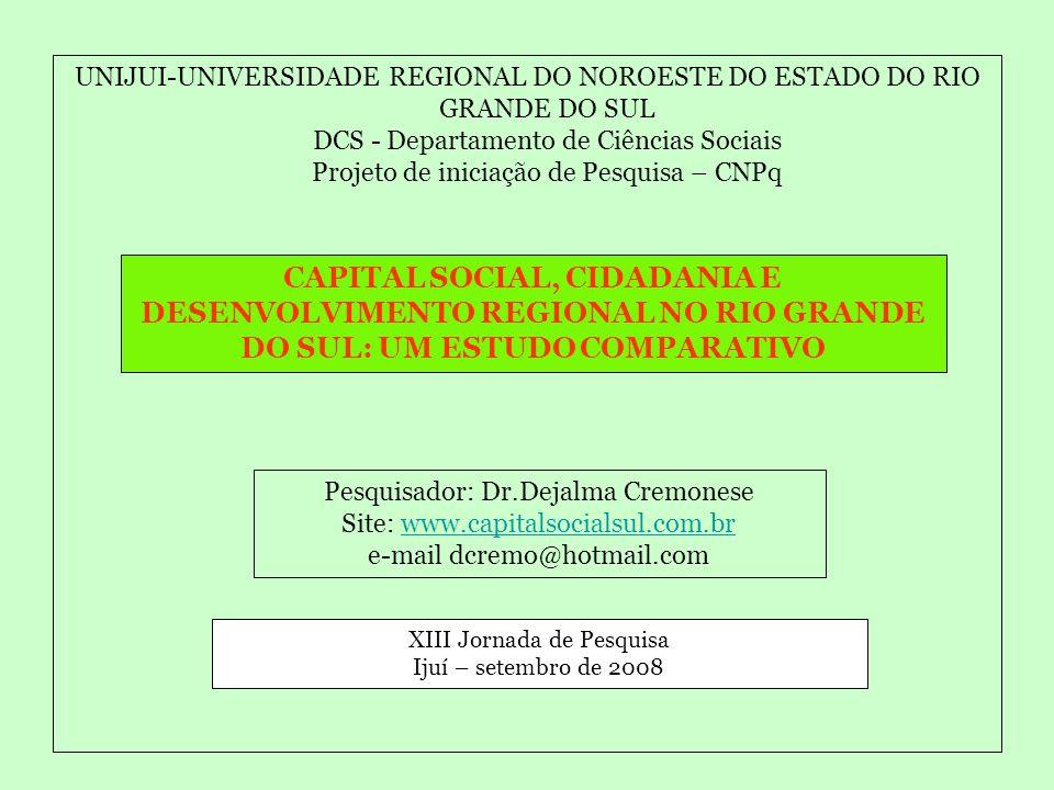 UNIJUI-UNIVERSIDADE REGIONAL DO NOROESTE DO ESTADO DO RIO GRANDE DO SUL DCS - Departamento de Ciências Sociais Projeto de iniciação de Pesquisa – CNPq CAPITAL SOCIAL, CIDADANIA E DESENVOLVIMENTO REGIONAL NO RIO GRANDE DO SUL: UM ESTUDO COMPARATIVO Pesquisador: Dr.Dejalma Cremonese Site: www.capitalsocialsul.com.brwww.capitalsocialsul.com.br e-mail dcremo@hotmail.com XIII Jornada de Pesquisa Ijuí – setembro de 2008