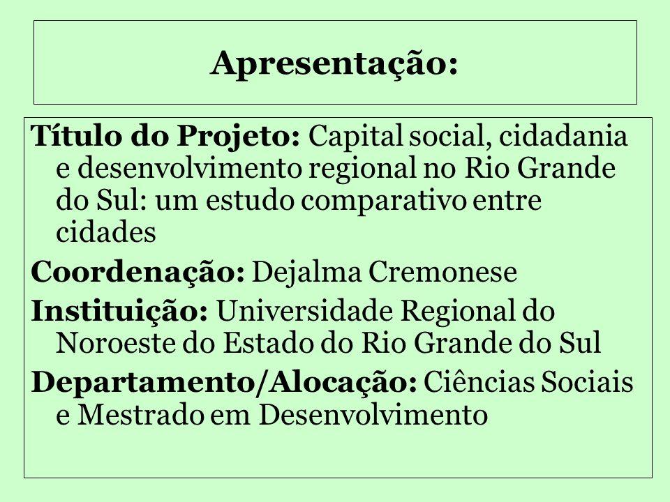 UNIJUI-UNIVERSIDADE REGIONAL DO NOROESTE DO ESTADO DO RIO GRANDE DO SUL DCS - Departamento de Ciências Sociais Projeto de iniciação de Pesquisa – CNPq