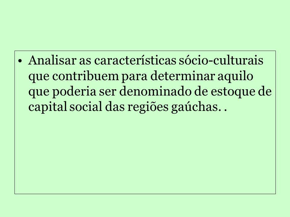 Objetivos específicos: •Examinar os fatores que contribuem para produzir e reproduzir as desigualdades regionais no Rio Grande do Sul; •Mensurar e relacionar os níveis de capital social (participação, associativismo, cooperação, confiança e civismo) das cidades estudadas (Ijuí, Sananduva, Porto Alegre e Novo Hamburgo);