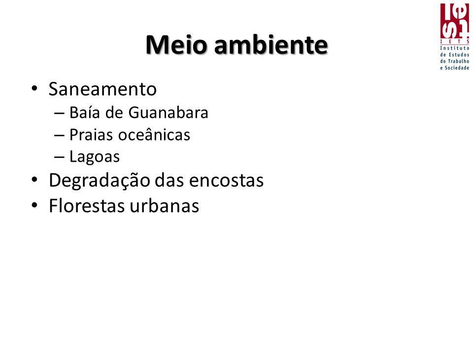 Meio ambiente • Saneamento – Baía de Guanabara – Praias oceânicas – Lagoas • Degradação das encostas • Florestas urbanas