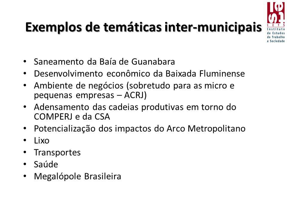 Exemplos de temáticas inter-municipais • Saneamento da Baía de Guanabara • Desenvolvimento econômico da Baixada Fluminense • Ambiente de negócios (sobretudo para as micro e pequenas empresas – ACRJ) • Adensamento das cadeias produtivas em torno do COMPERJ e da CSA • Potencialização dos impactos do Arco Metropolitano • Lixo • Transportes • Saúde • Megalópole Brasileira
