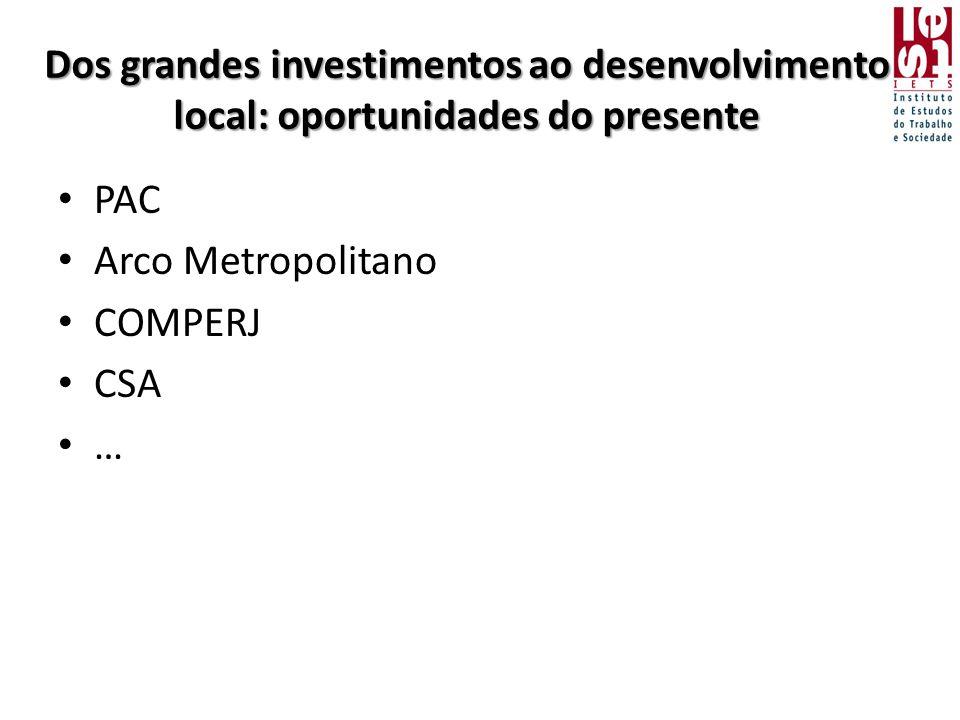 Dos grandes investimentos ao desenvolvimento local: oportunidades do presente • PAC • Arco Metropolitano • COMPERJ • CSA • …