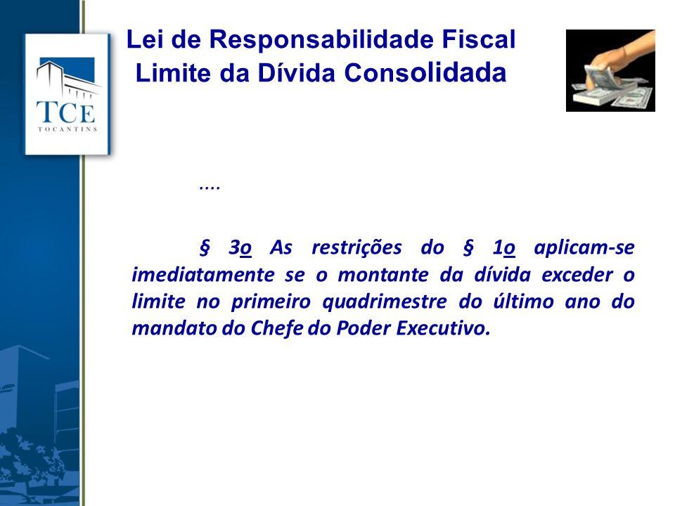 .... § 3o As restrições do § 1o aplicam-se imediatamente se o montante da dívida exceder o limite no primeiro quadrimestre do último ano do mandato do