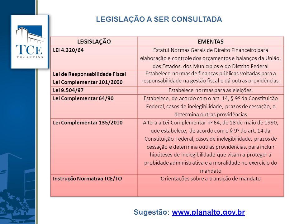 LEGISLAÇÃO A SER CONSULTADA Sugestão: www.planalto.gov.brwww.planalto.gov.br