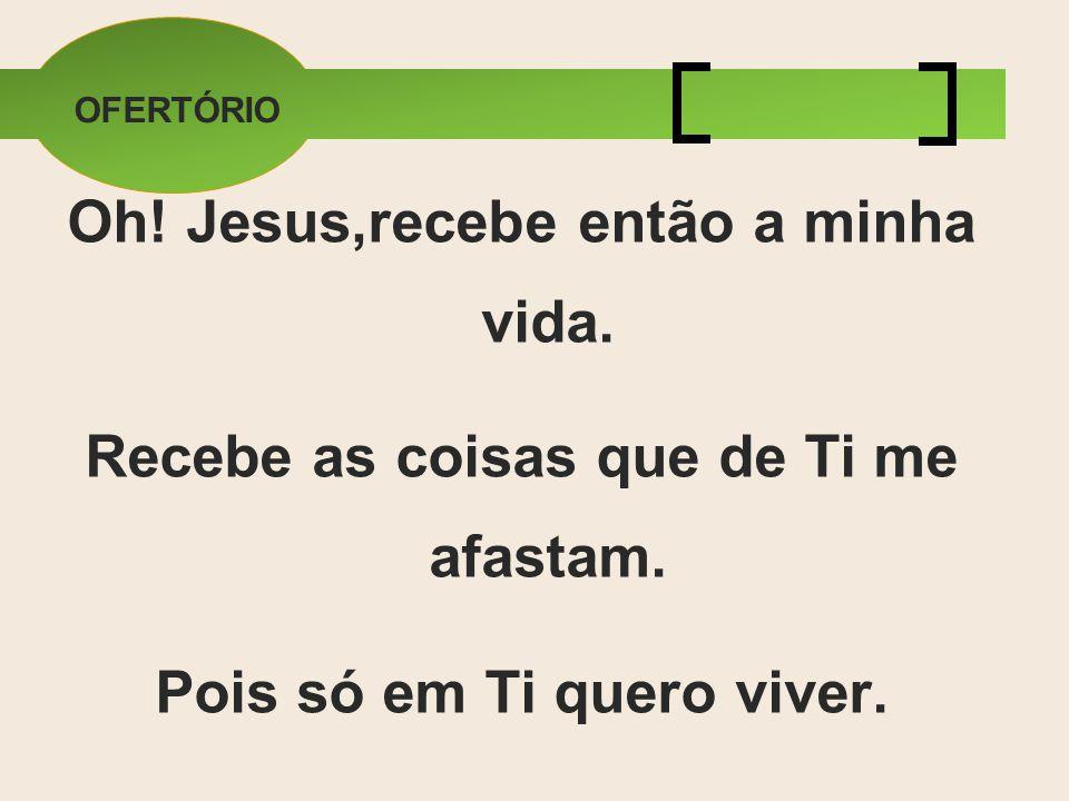 OFERTÓRIO Oh! Jesus,recebe então a minha vida. Recebe as coisas que de Ti me afastam. Pois só em Ti quero viver.