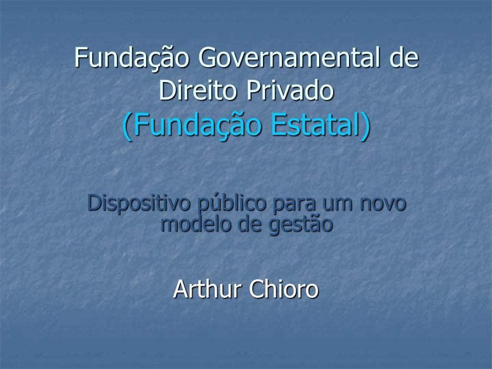 Fundação Governamental de Direito Privado (Fundação Estatal) Dispositivo público para um novo modelo de gestão Arthur Chioro