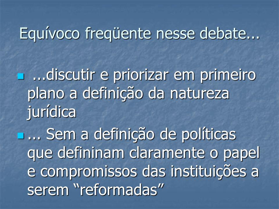 Equívoco freqüente nesse debate... ...discutir e priorizar em primeiro plano a definição da natureza jurídica ... Sem a definição de políticas que d
