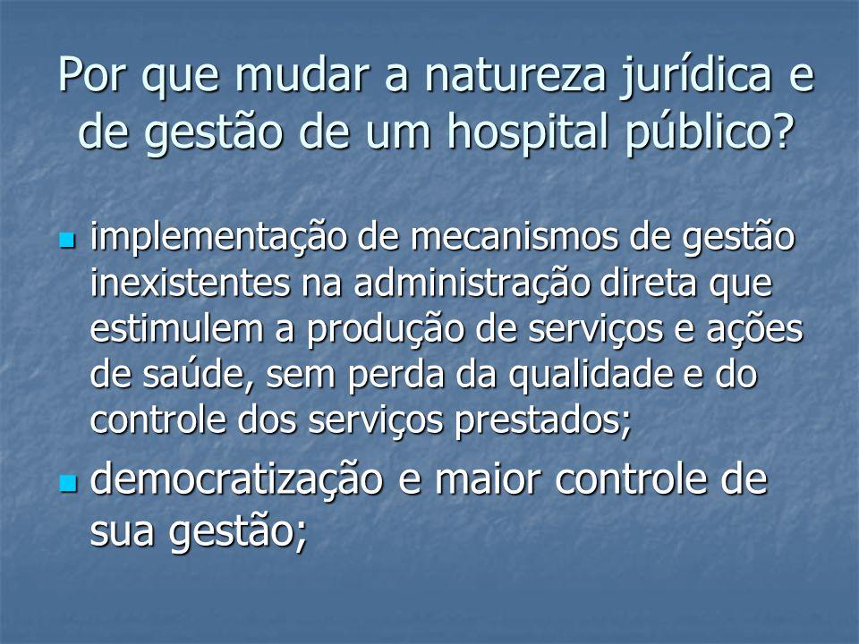 Por que mudar a natureza jurídica e de gestão de um hospital público?  implementação de mecanismos de gestão inexistentes na administração direta que