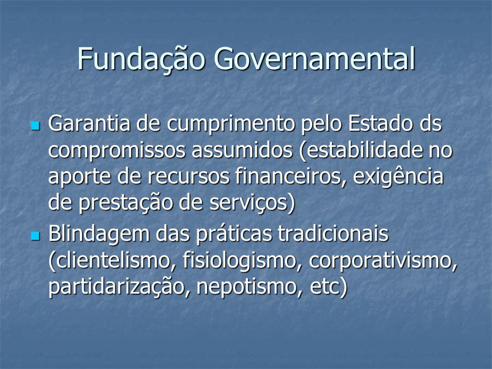 Fundação Governamental  Garantia de cumprimento pelo Estado ds compromissos assumidos (estabilidade no aporte de recursos financeiros, exigência de p