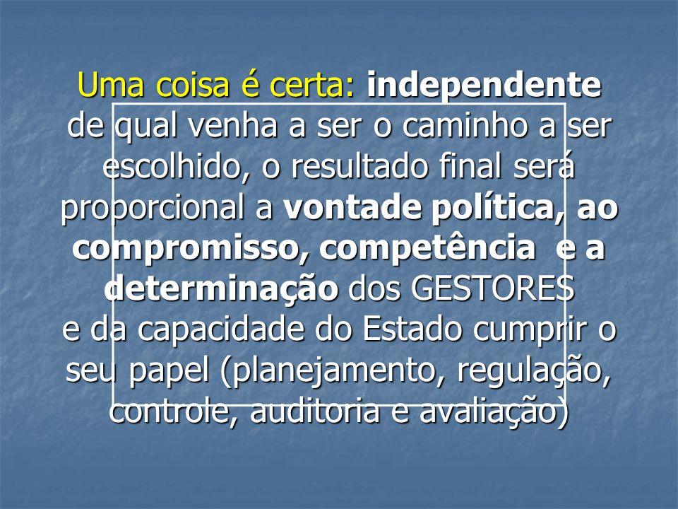 Uma coisa é certa: independente de qual venha a ser o caminho a ser escolhido, o resultado final será proporcional a vontade política, ao compromisso,