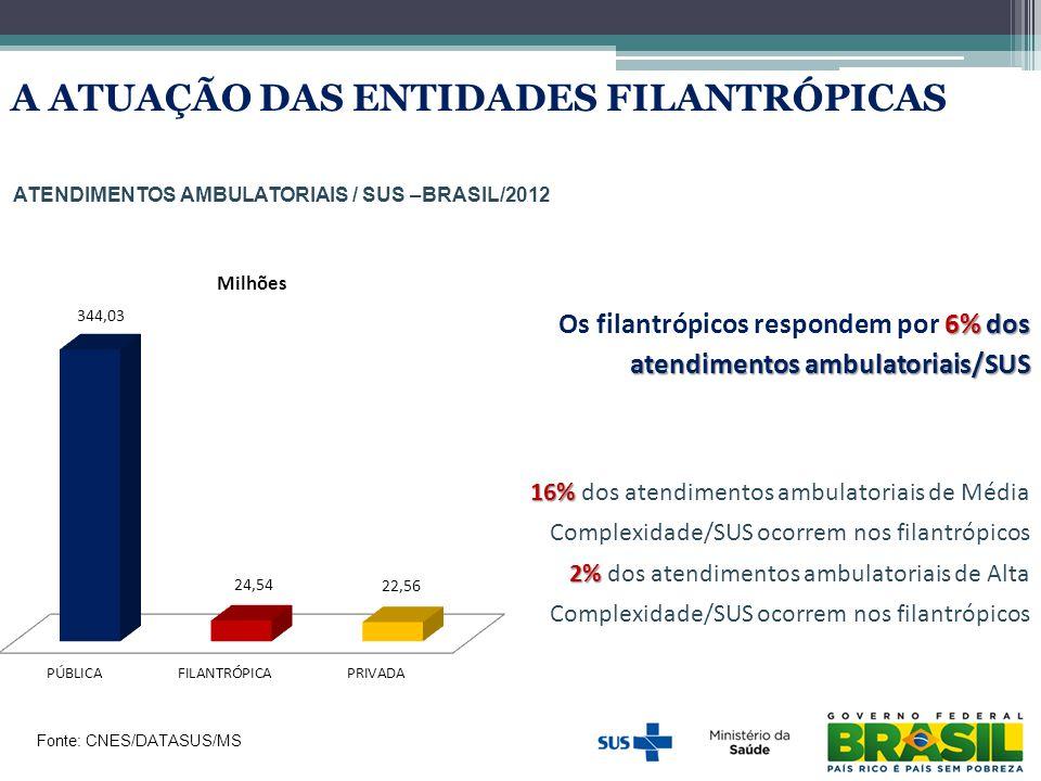 ATENDIMENTOS AMBULATORIAIS / SUS –BRASIL/2012 Fonte: CNES/DATASUS/MS 6% dos atendimentos ambulatoriais/SUS Os filantrópicos respondem por 6% dos atend