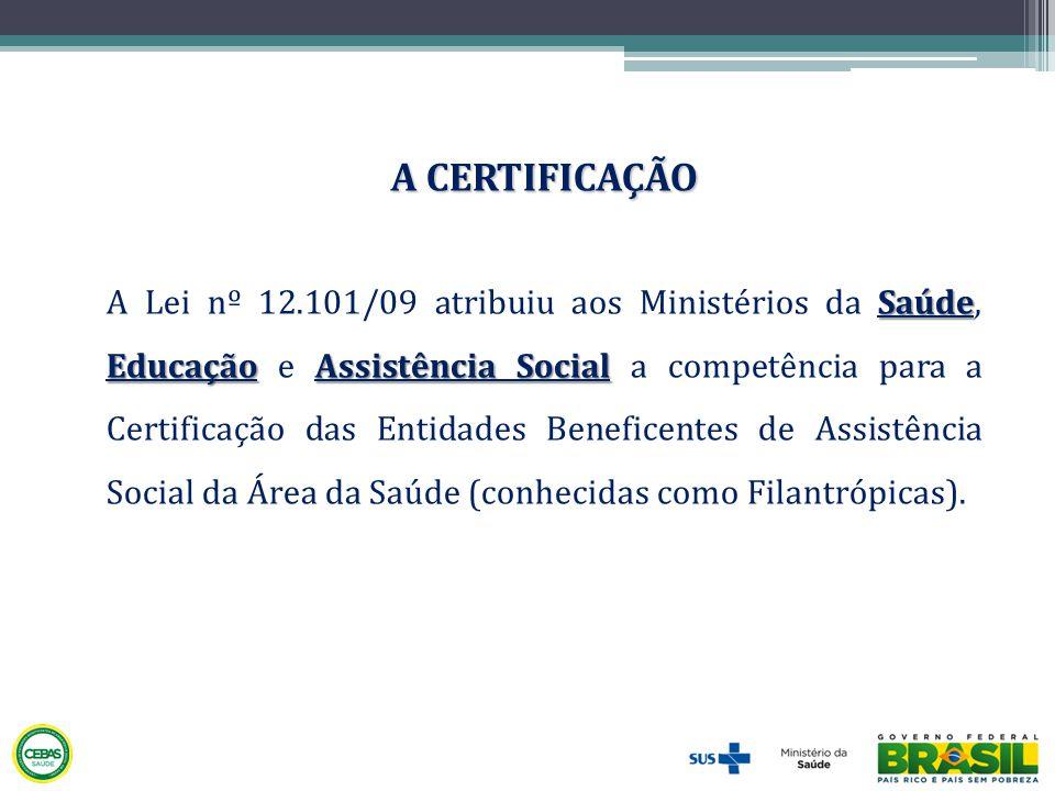 Saúde EducaçãoAssistência Social A Lei nº 12.101/09 atribuiu aos Ministérios da Saúde, Educação e Assistência Social a competência para a Certificação