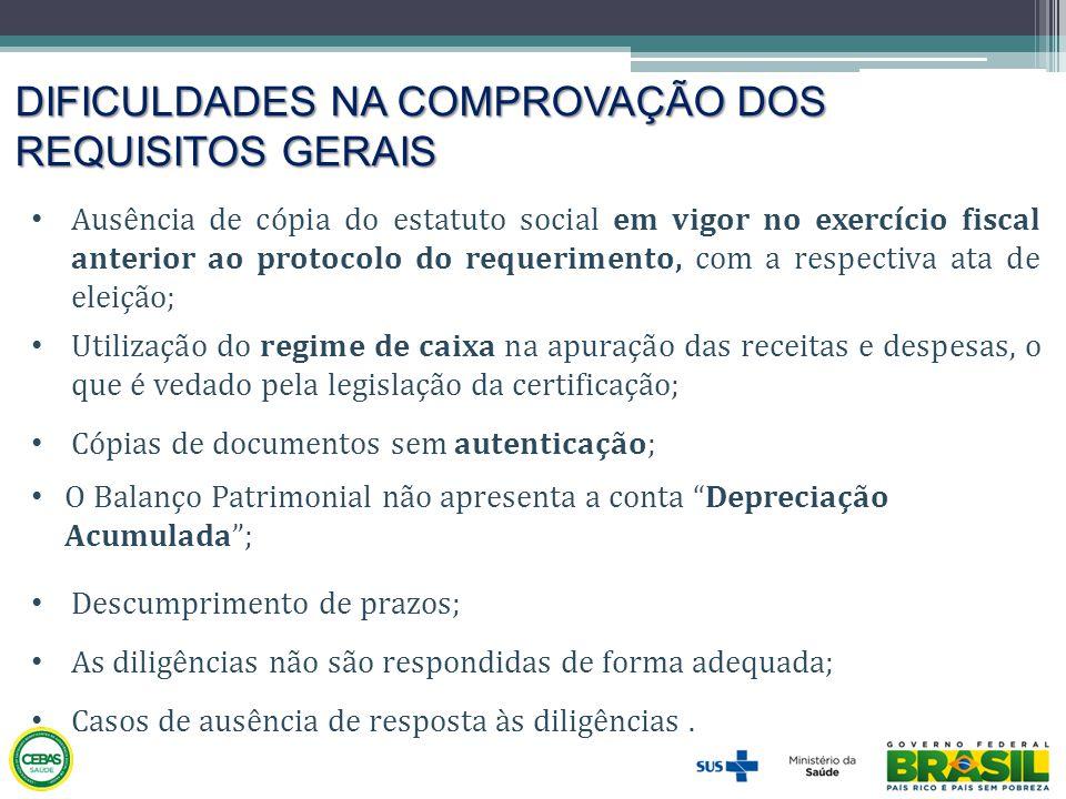 DIFICULDADES NA COMPROVAÇÃO DOS REQUISITOS GERAIS • Ausência de cópia do estatuto social em vigor no exercício fiscal anterior ao protocolo do requeri