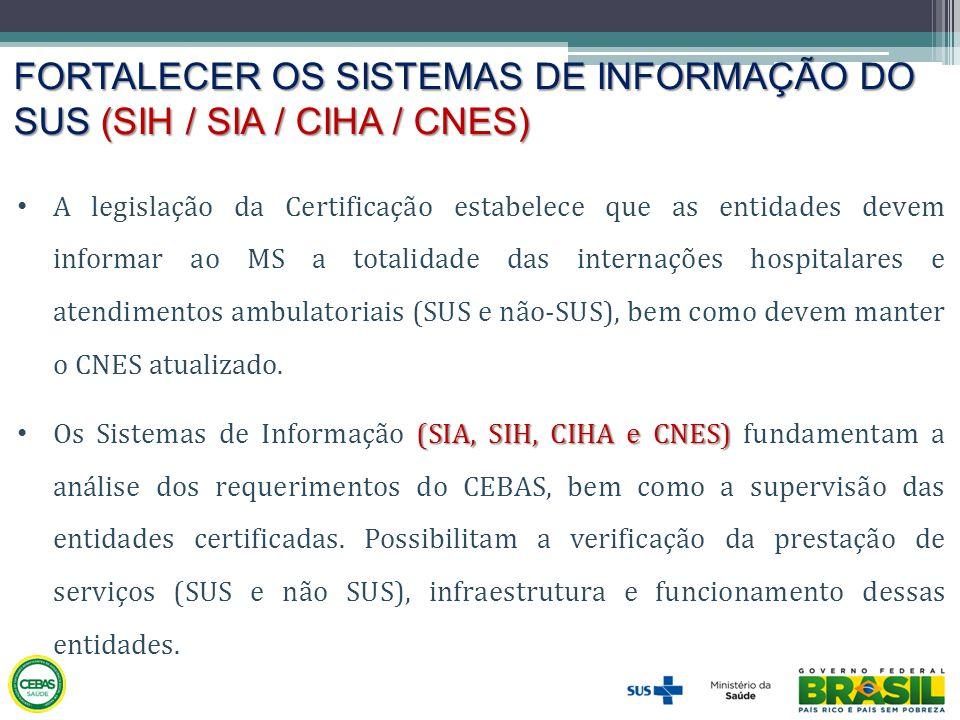 FORTALECER OS SISTEMAS DE INFORMAÇÃO DO SUS (SIH / SIA / CIHA / CNES) • A legislação da Certificação estabelece que as entidades devem informar ao MS