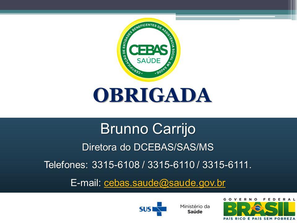 OBRIGADA Brunno Carrijo Diretora do DCEBAS/SAS/MS Telefones: 3315-6108 / 3315-6110 / 3315-6111. E-mail: cebas.saude@saude.gov.br