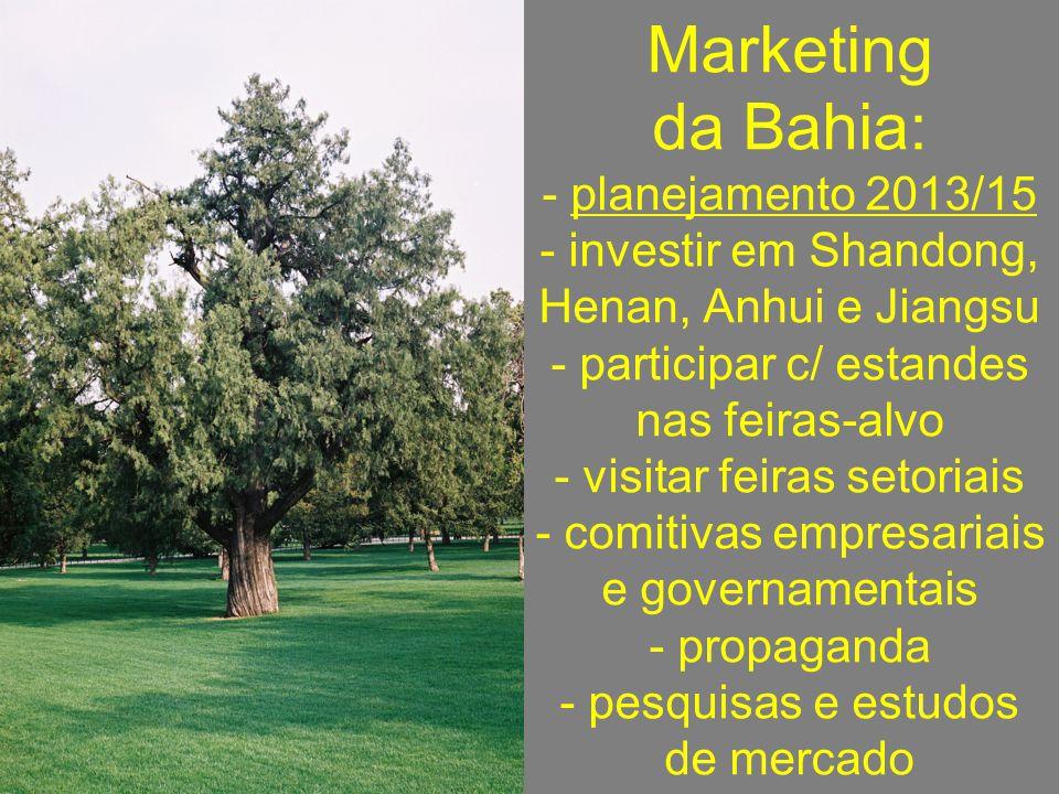 Marketing da Bahia: - planejamento 2013/15 - investir em Shandong, Henan, Anhui e Jiangsu - participar c/ estandes nas feiras-alvo - visitar feiras se