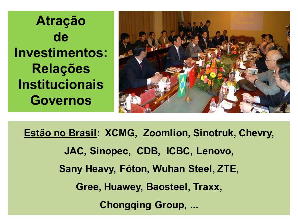 Estão no Brasil: XCMG, Zoomlion, Sinotruk, Chevry, JAC, Sinopec, CDB, ICBC, Lenovo, Sany Heavy, Fóton, Wuhan Steel, ZTE, Gree, Huawey, Baosteel, Traxx