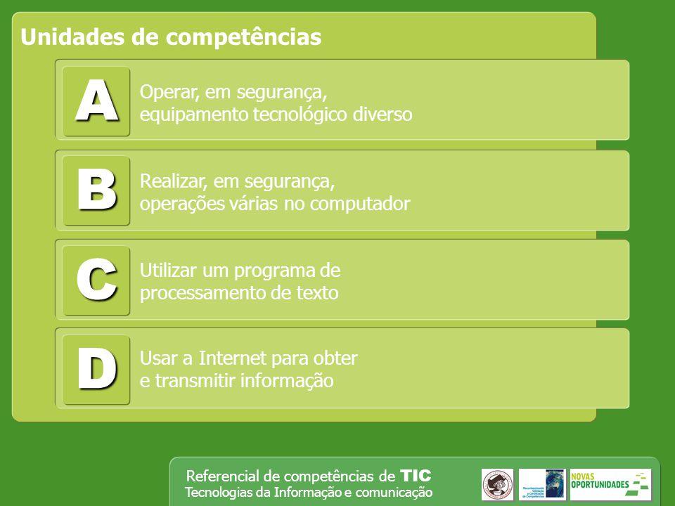 Referencial de competências de TIC Tecnologias da Informação e comunicação A Unidades de competências B C D Operar, em segurança, equipamento tecnológ