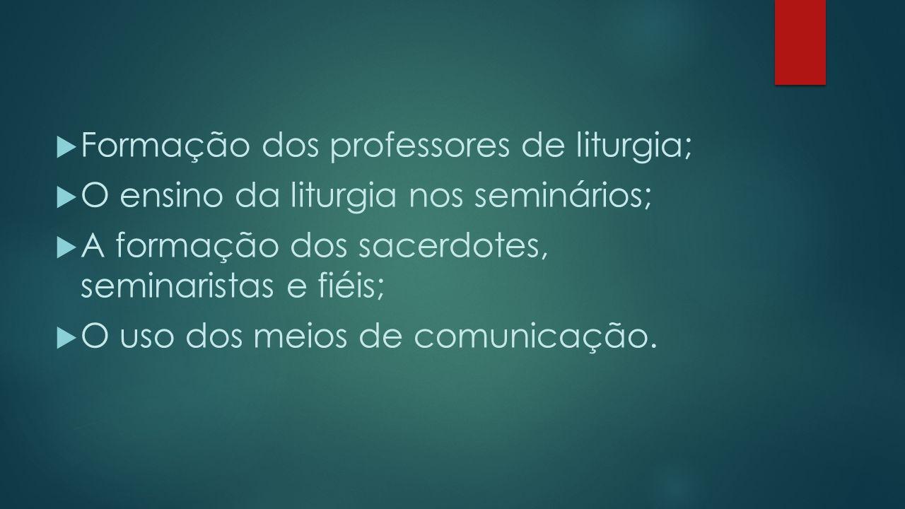  Formação dos professores de liturgia;  O ensino da liturgia nos seminários;  A formação dos sacerdotes, seminaristas e fiéis;  O uso dos meios de