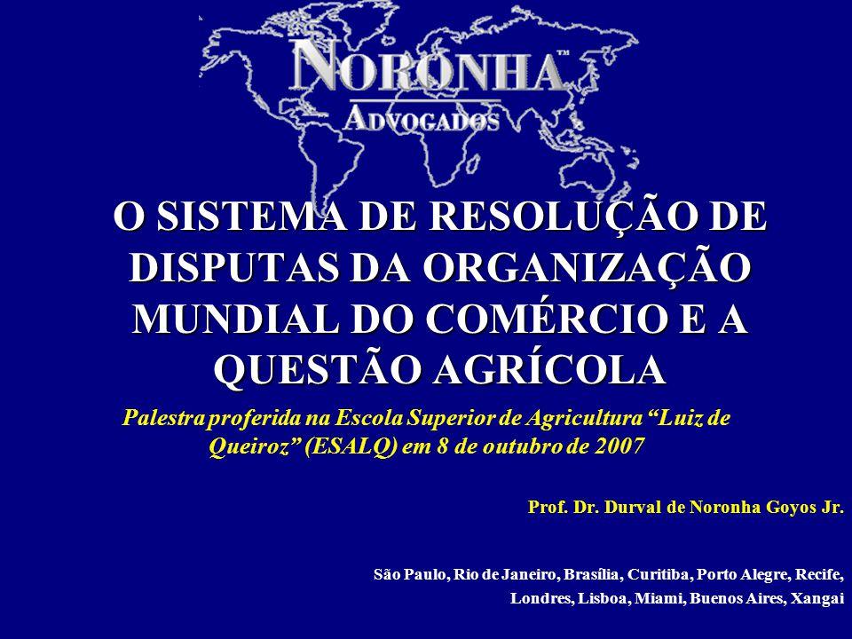 1/17 O SISTEMA DE RESOLUÇÃO DE DISPUTAS DA ORGANIZAÇÃO MUNDIAL DO COMÉRCIO E A QUESTÃO AGRÍCOLA Prof.