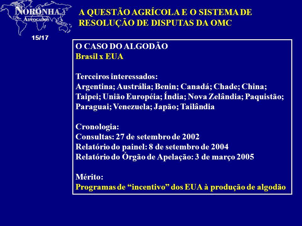 15/17 A QUESTÃO AGRÍCOLA E O SISTEMA DE RESOLUÇÃO DE DISPUTAS DA OMC O CASO DO ALGODÃO Brasil x EUA Terceiros interessados: Argentina; Austrália; Benin; Canadá; Chade; China; Taipei; União Européia; Índia; Nova Zelândia; Paquistão; Paraguai; Venezuela; Japão; Tailândia Cronologia: Consultas: 27 de setembro de 2002 Relatório do painel: 8 de setembro de 2004 Relatório do Órgão de Apelação: 3 de março 2005 Mérito: Programas de incentivo dos EUA à produção de algodão