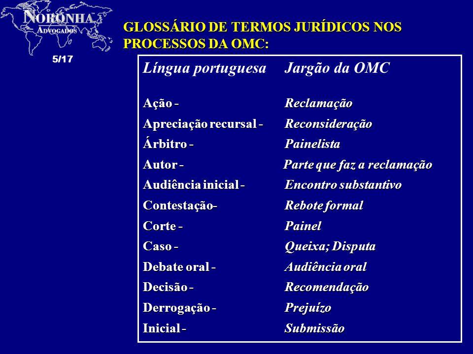 6/17 Língua portuguesaJargão da OMC Jurisprudência - Prática Laudo - Relatório Objeto da ação - Termo de referência Petição - Submissão Processo de execução - Implementação Regimento Interno - Procedimento de trabalho Réplica -Submissão Réu - Parte contra que foi feita a reclamação; parte respondente Revogação -Nulificação Sessão -Encontro substantivo Tréplica -Submissão GLOSSÁRIO DE TERMOS JURÍDICOS NOS PROCESSOS DA OMC: