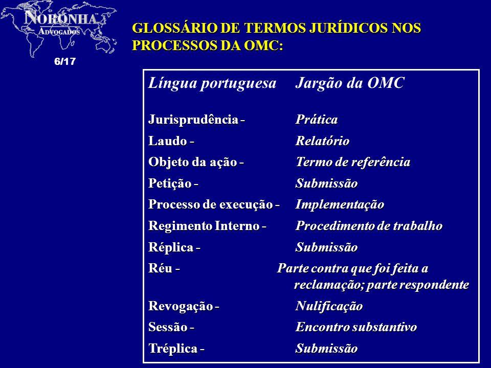 6/17 Língua portuguesaJargão da OMC Jurisprudência - Prática Laudo - Relatório Objeto da ação - Termo de referência Petição - Submissão Processo de ex