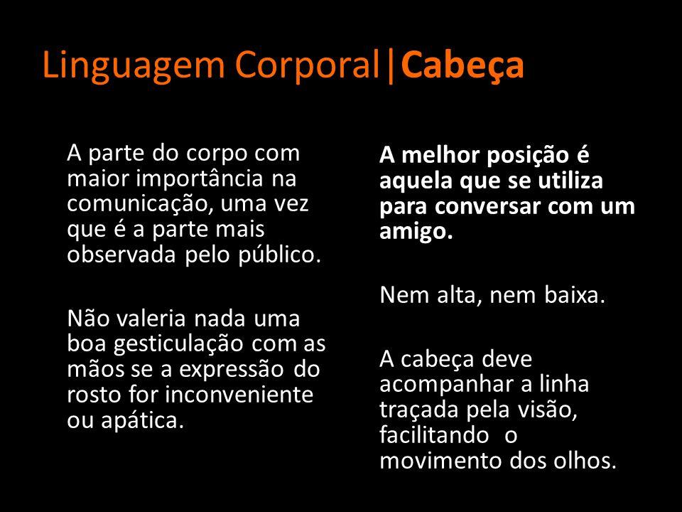 Linguagem Corporal|Cabeça A parte do corpo com maior importância na comunicação, uma vez que é a parte mais observada pelo público.