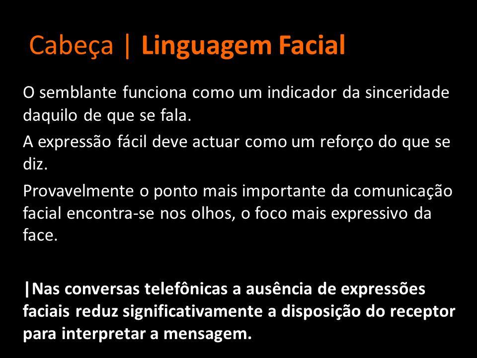 Cabeça | Linguagem Facial O semblante funciona como um indicador da sinceridade daquilo de que se fala. A expressão fácil deve actuar como um reforço
