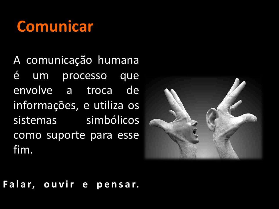 Comunicar A comunicação humana é um processo que envolve a troca de informações, e utiliza os sistemas simbólicos como suporte para esse fim. Falar, o