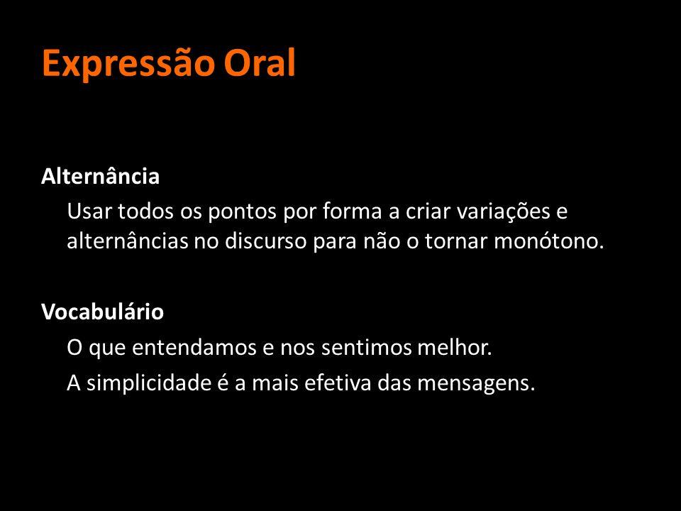 Expressão Oral Alternância Usar todos os pontos por forma a criar variações e alternâncias no discurso para não o tornar monótono. Vocabulário O que e