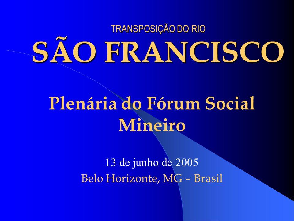 TRANSPOSIÇÃO DO RIO SÃO FRANCISCO Plenária do Fórum Social Mineiro 13 de junho de 2005 Belo Horizonte, MG – Brasil