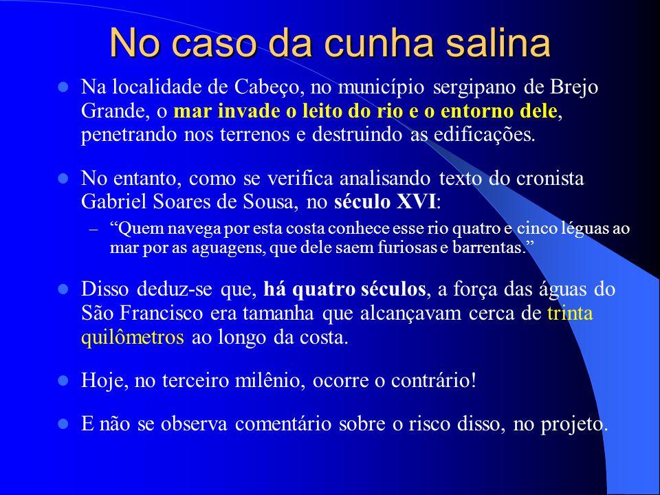 No caso da cunha salina  Na localidade de Cabeço, no município sergipano de Brejo Grande, o mar invade o leito do rio e o entorno dele, penetrando no