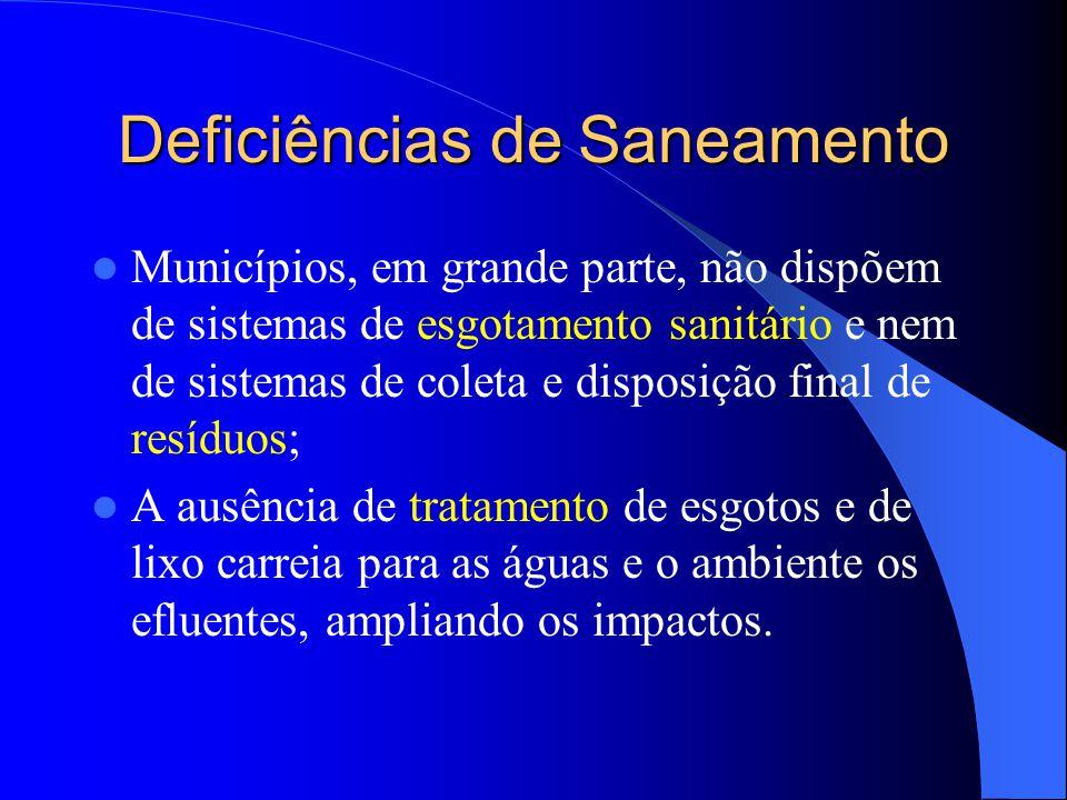 Deficiências de Saneamento  Municípios, em grande parte, não dispõem de sistemas de esgotamento sanitário e nem de sistemas de coleta e disposição fi