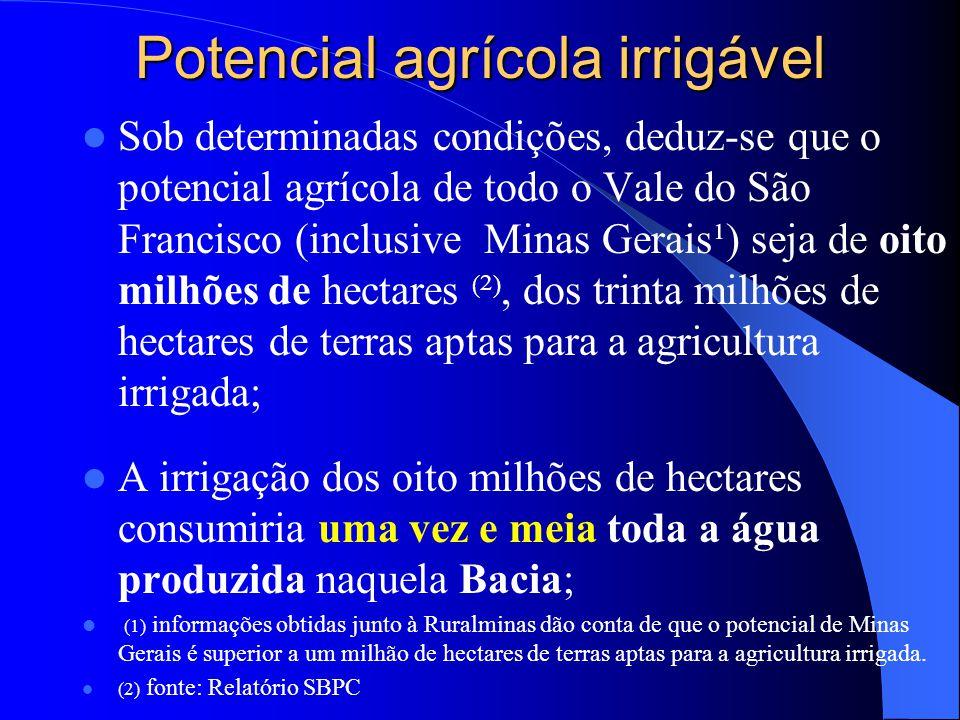 Potencial agrícola irrigável  Sob determinadas condições, deduz-se que o potencial agrícola de todo o Vale do São Francisco (inclusive Minas Gerais¹)