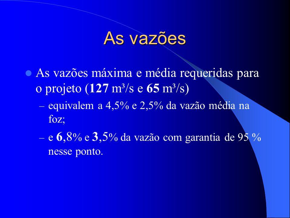 As vazões  As vazões máxima e média requeridas para o projeto (127 m³/s e 65 m³/s) – equivalem a 4,5% e 2,5% da vazão média na foz; – e 6,8 % e 3,5 %