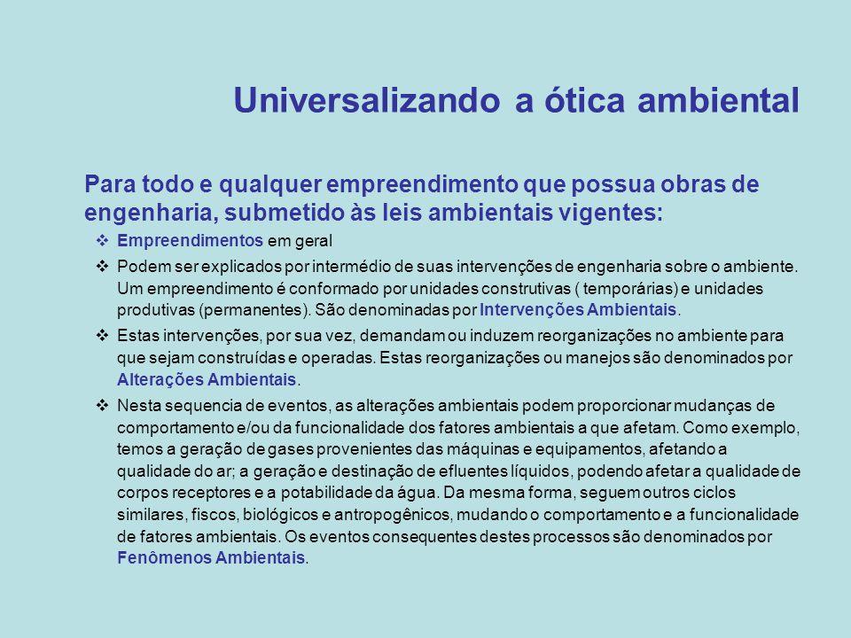 Universalizando a ótica ambiental •Para todo e qualquer empreendimento que possua obras de engenharia, submetido às leis ambientais vigentes:  Empree